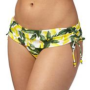 Yellow lemon print fold over bikini bottoms