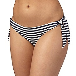 Gorgeous DD+ - Navy striped print tie side bikini bottoms