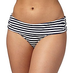 Gorgeous DD+ - Navy striped print fold over bikini bottoms