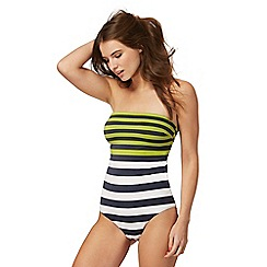J by Jasper Conran - Multi-coloured striped bandeau tummy control swimsuit