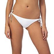 White self-tie bikini bottoms