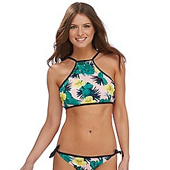 Red Herring - Multi-coloured cactus print high neck bikini top