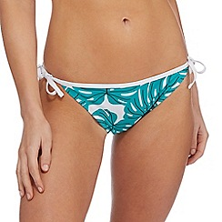Red Herring - Green leaf print tie side bikini bottoms