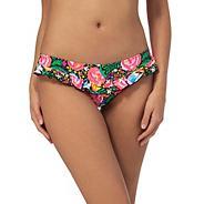 Multi-coloured floral print frilled bikini bottoms