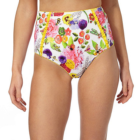 Floozie by Frost French - White +English Garden+ high waisted tummy control briefs