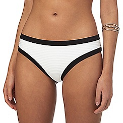 J by Jasper Conran - White textured stripe border bikini bottoms