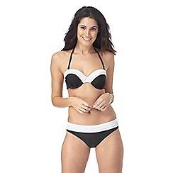J by Jasper Conran - Black and white pleated underwired bikini top