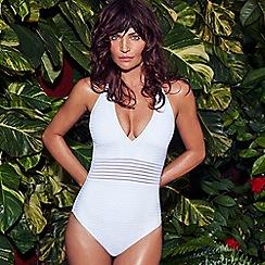 J by Jasper Conran - White burnout striped halter neck swimsuit