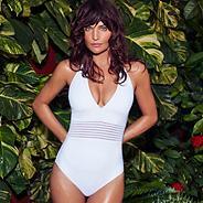 White burnout striped halter neck swimsuit