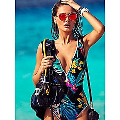 Butterfly by Matthew Williamson - Multicoloured tropical print front zip tummy control swimsuit