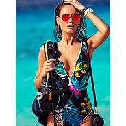 Multicoloured tropical print front zip tummy control swimsuit