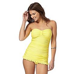 Beach Collection - Yellow plain tummy control skirt swimsuit