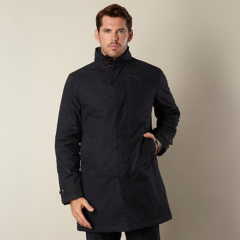 RJR.John Rocha - Designer navy waxed mock insert mac coat