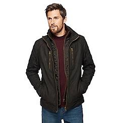 RJR.John Rocha - Dark brown mock Harrington leather jacket