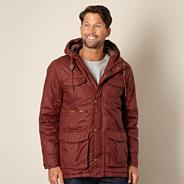 Designer dark red coated hooded jacket