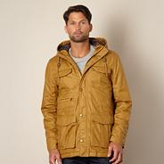 Big and tall designer mustard coated hooded jacket