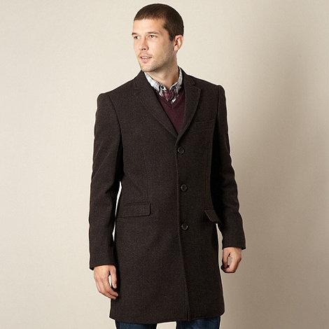 RJR.John Rocha - Big and tall designer brown twill wool blend coat