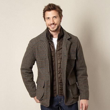 RJR.John Rocha - Designer brown checked mock jacket insert coat