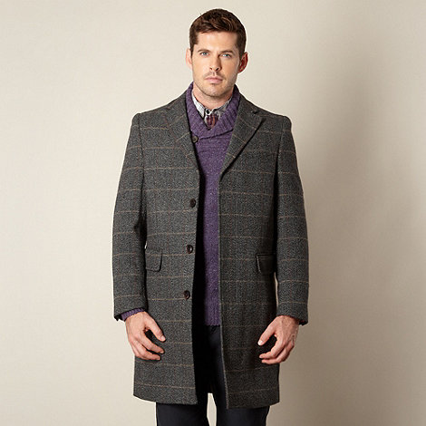 RJR.John Rocha - Designer grey herringbone wool blend coat