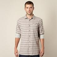 Big and tall designer light grey marl grid checked shirt
