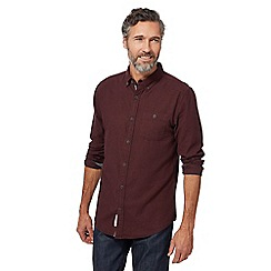 RJR.John Rocha - Big and tall dark red brushed herringbone tailored fit shirt