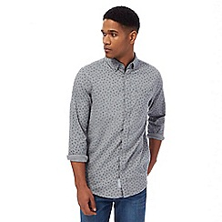 RJR.John Rocha - Big and tall grey leaf print herringbone tailored fit shirt
