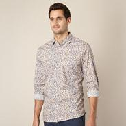 Big and tall designer mustard floral shirt