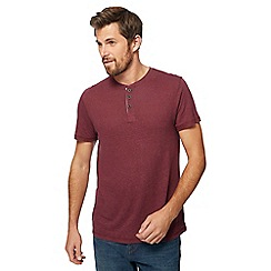 RJR.John Rocha - Big and tall dark red granddad collar top with linen