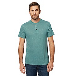 RJR.John Rocha - Big and tall green grandad collar top with linen