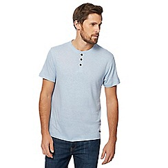 RJR.John Rocha - Big and tall light blue grandad collar top with linen