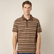 Big and tall designer brown multi striped polo shirt