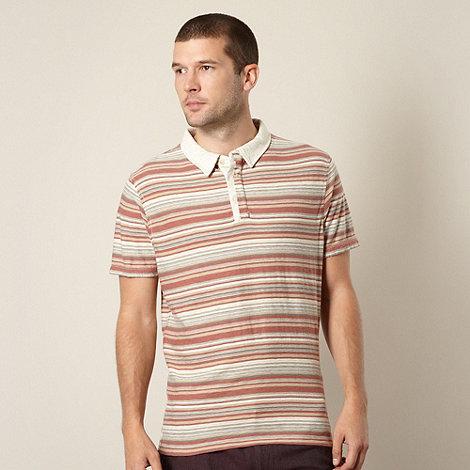 RJR.John Rocha - Designer terracotta textured striped polo shirt