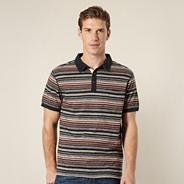 Big and tall designer grey striped polo shirt