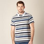 Big and tall designer navy striped polo shirt