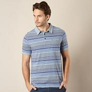 Big & Tall designer blue multi striped polo shirt