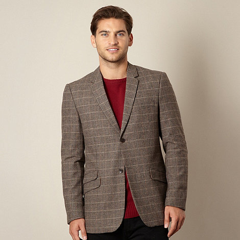 RJR.John Rocha - Designer brown dogtooth checked wool blend jacket