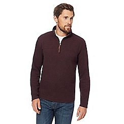 RJR.John Rocha - Dark red ribbed funnel zip neck sweater