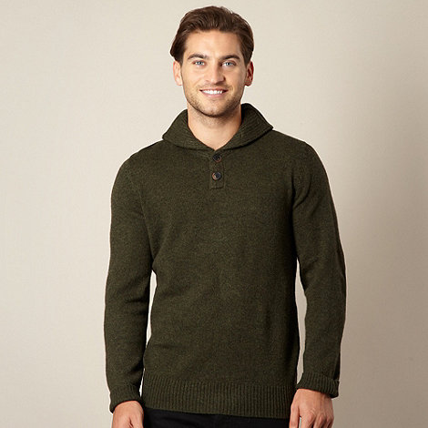 RJR.John Rocha - Designer green lambswool blend shawl neck jumper