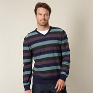 Big and tall designer purple reverse striped jumper
