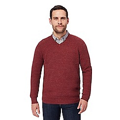 RJR.John Rocha - Big and tall red moss stitch v neck jumper