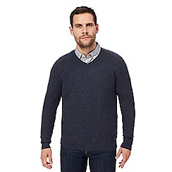 RJR.John Rocha - Big and tall navy moss stitch v neck jumper