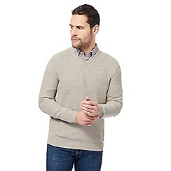 RJR.John Rocha - Big and tall taupe moss stitch v neck jumper