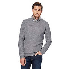 RJR.John Rocha - Big and tall grey moss stitch crew neck jumper