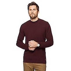 RJR.John Rocha - Big and tall wine red textured turtleneck jumper