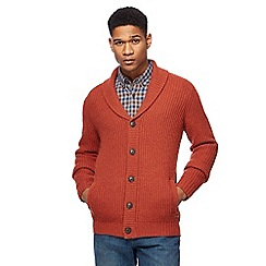 RJR.John Rocha - Big and tall dark orange lambswool rich shawl cardigan