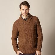 Big & Tall designer tan cable knitted jumper