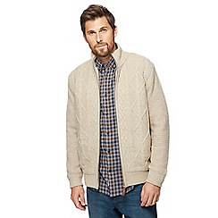 RJR.John Rocha - Big and tall natural cable knit zip through jacket