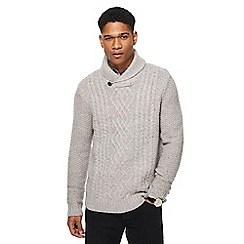RJR.John Rocha - Big and tall light grey cable knit shawl collar jumper