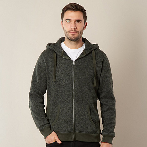 RJR.John Rocha - Big and tall designer dark green mottled knit hoodie