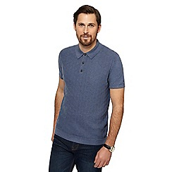 RJR.John Rocha - Light blue geometric textured knitted polo shirt